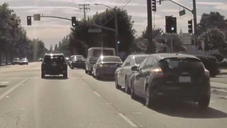 Watch Distracted Driver Ram Rear Of Stopped Car: TeslaCam Video