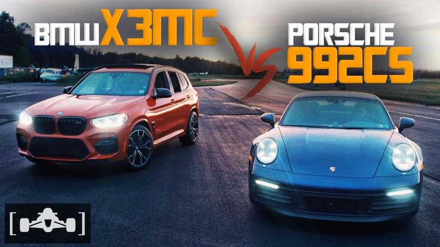 Porsche 911 Carrera S, modifiyeli BMW X3 M Competition ile yarışıyor