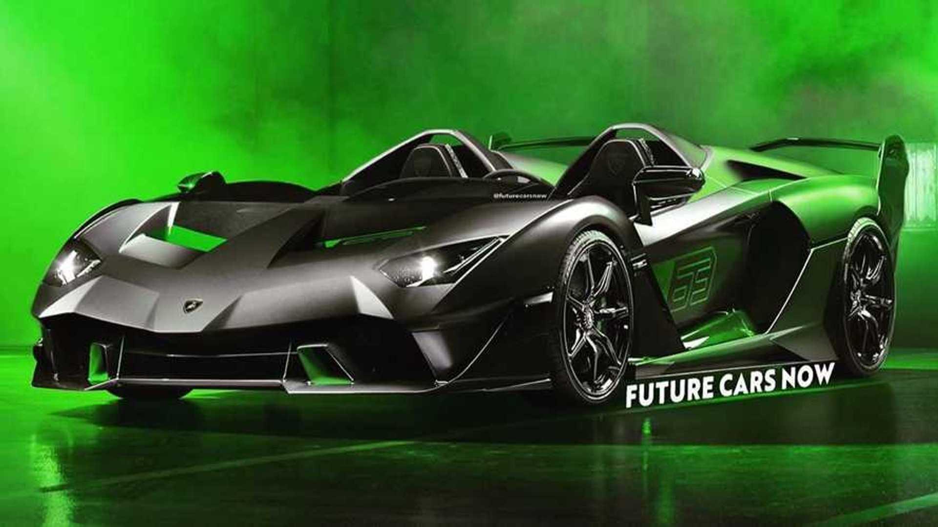 Lamborghini Essenza SCV12 Speedster Rendering Previews Roofless Track Car