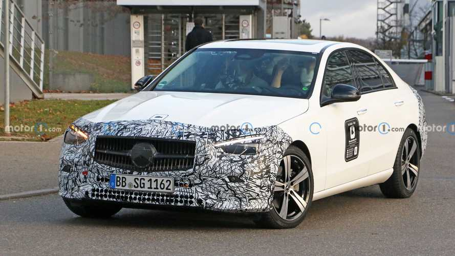 2022 Mercedes C-Class finally drops the heavy camo in new spy photos