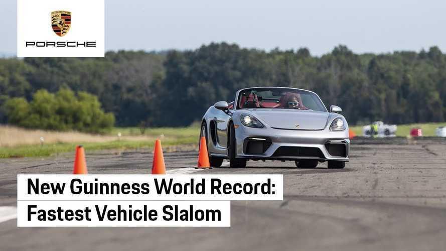 Porsche 718 Spyder, lo slalom è da Guinness World Record