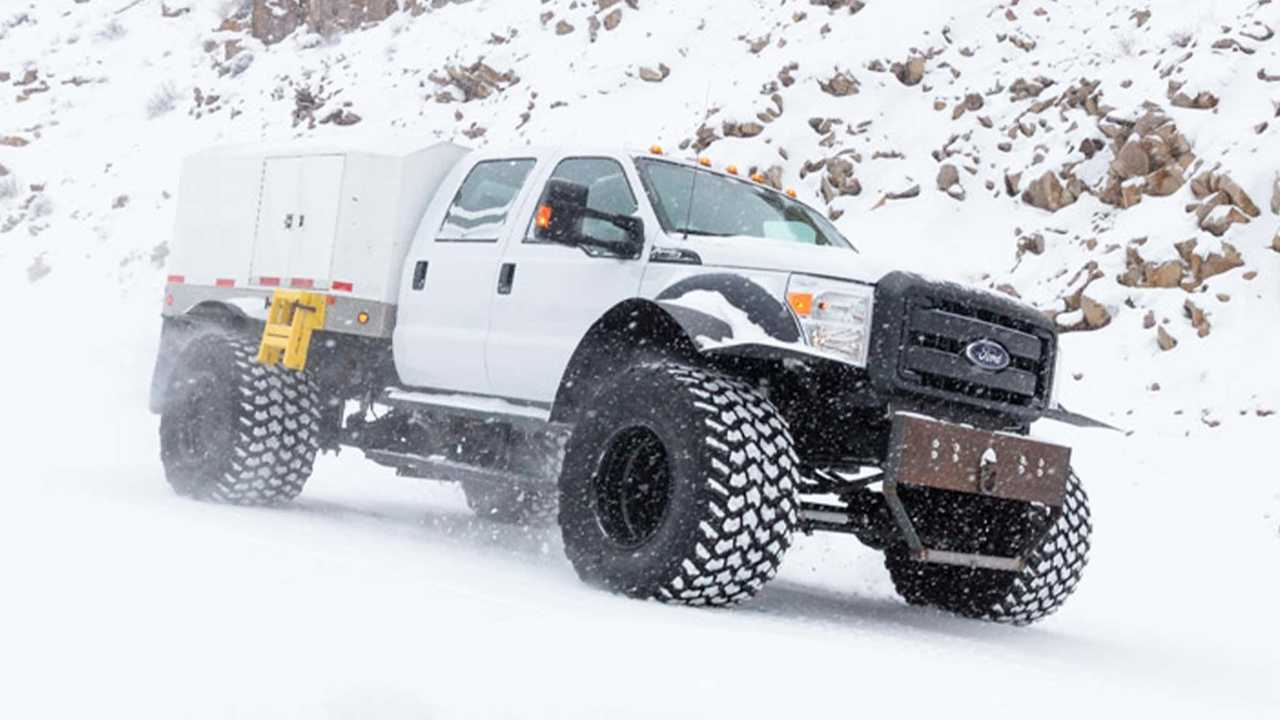 This monster Ford Super Duty conquers the elements to reach deep into Yellowstone National Park.