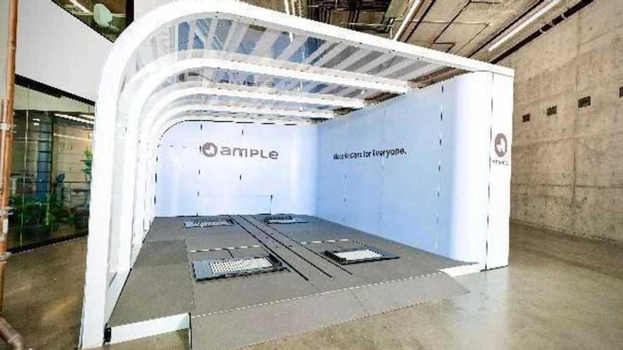 una stazione Ample per il battery swap robotizzato