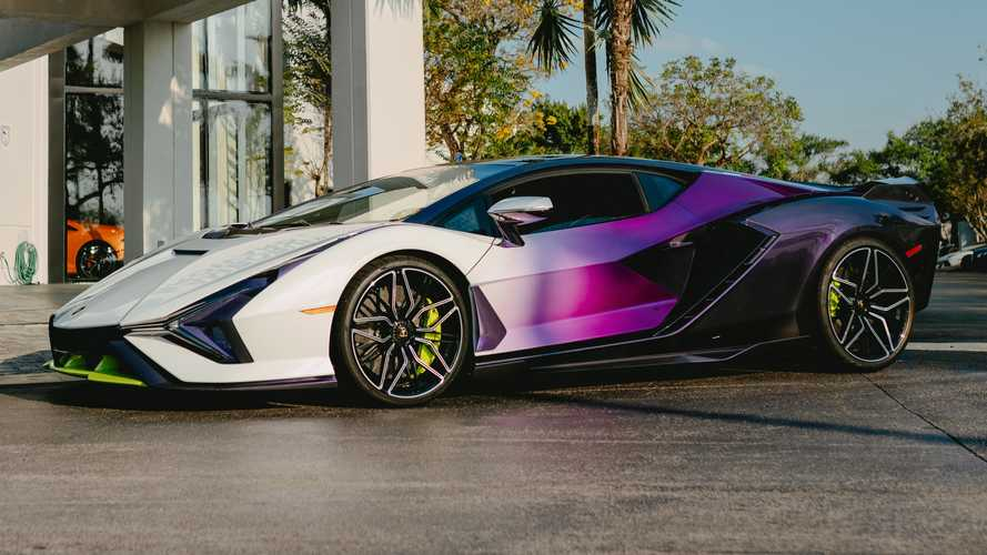 Lamborghini Sian In Purple, Green, And White
