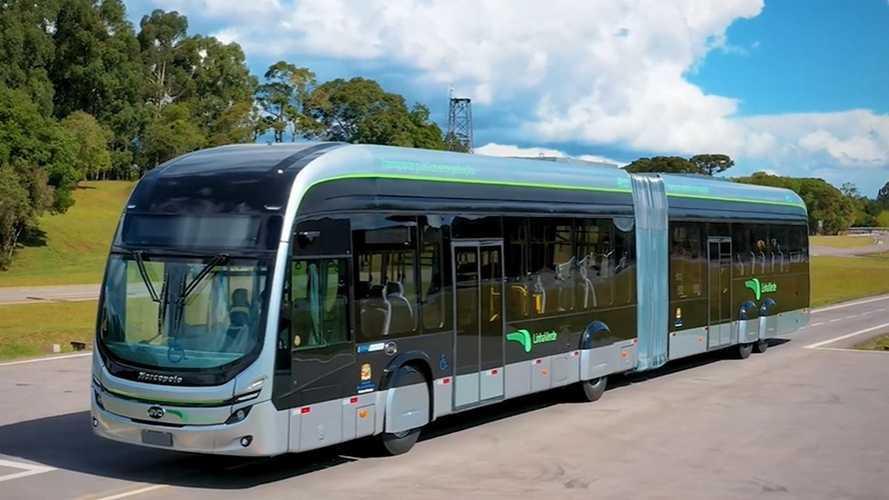 Primeiro ônibus articulado 100% elétrico fabricado no Brasil é apresentado
