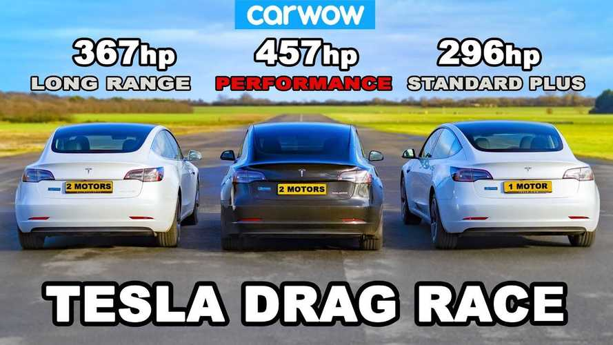 See three Tesla Model 3 versions drag race side-by-side