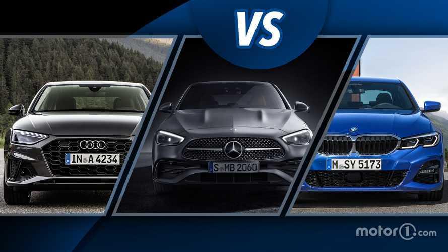 Super sfida tedesca tra nuova Mercedes Classe C, Audi A4 e BMW Serie 3