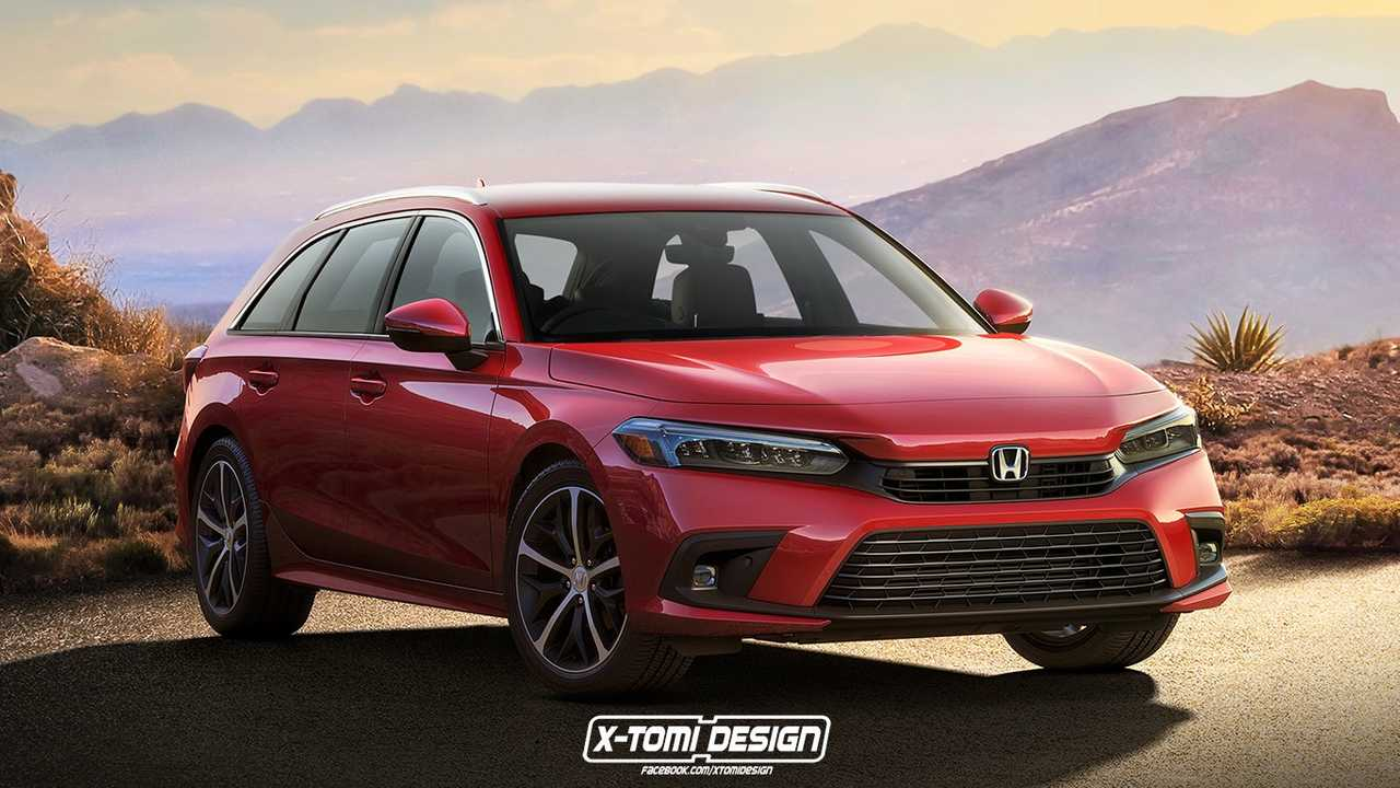Unofficial rendering of a 2022 Honda Civic depicted as a station wagon.
