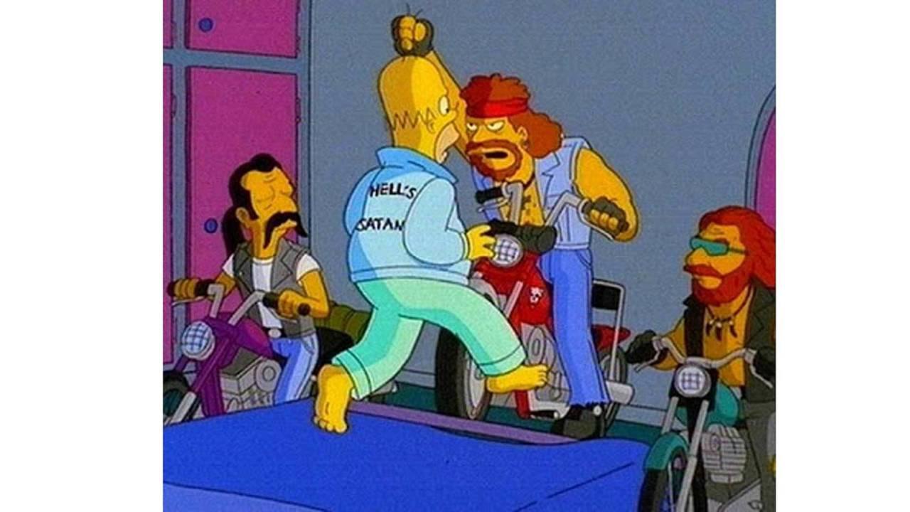 The Bakersfield Hells Satans confront Homer Simpson over trademark infringement.