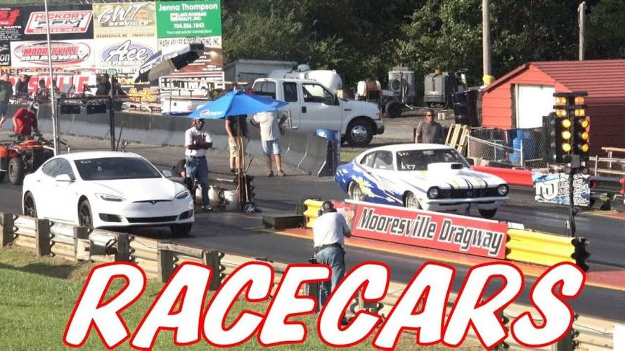 Watch Tesla Model S P100D Take On Some Real Race Cars
