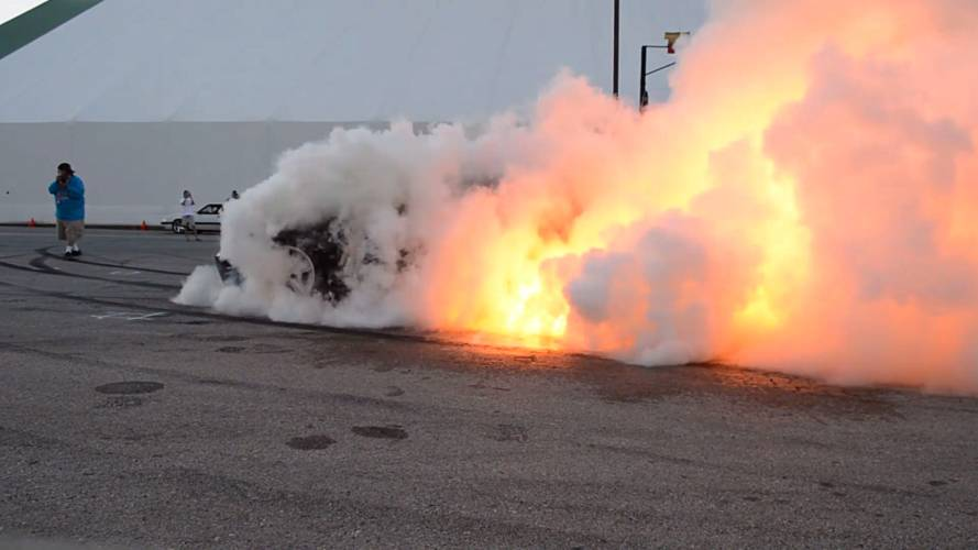 Watch This Ford Mustang's Epic Burnout Erupt Into A Fireball