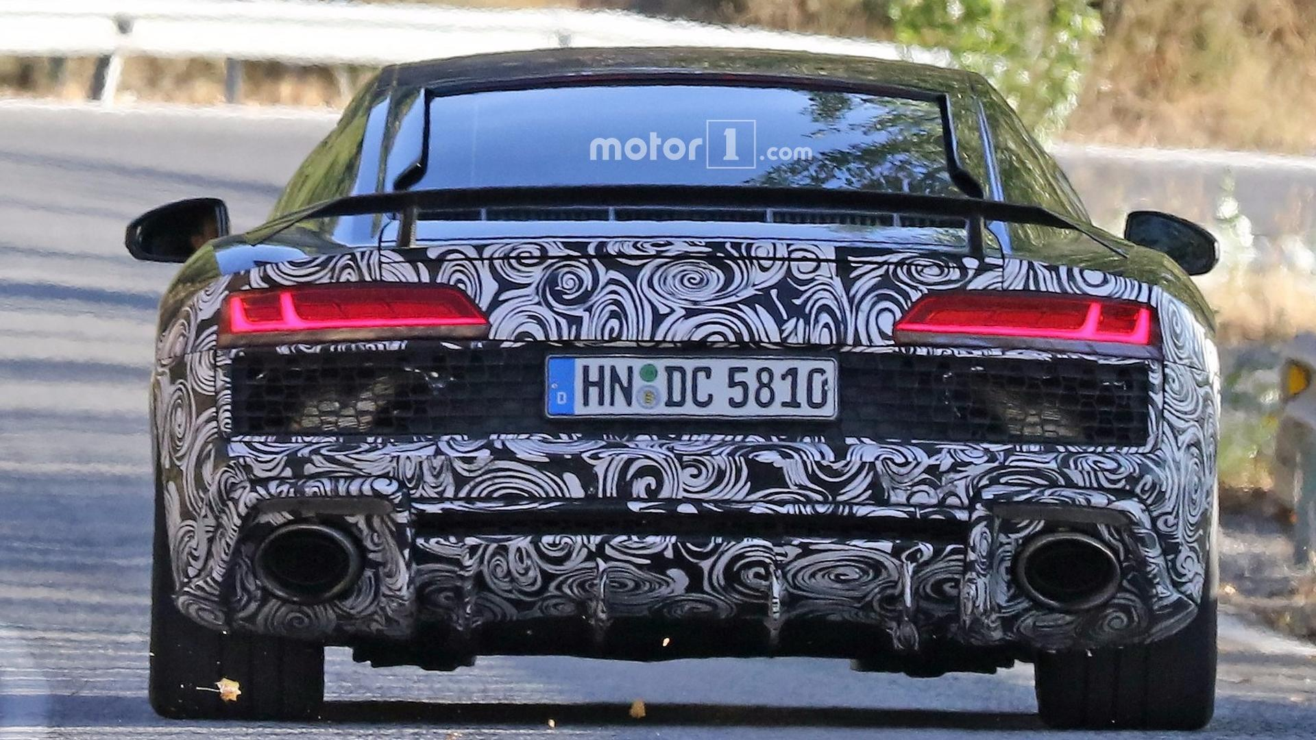 Hardcore Audi R Spied With Massive Oval Exhaust Tips - 2018 audi r8 gt