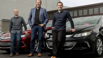 GM Lyft Partnership - General Motors President Dan Ammann (center) with Lyft Inc. co-founders John Zimmer (right) and Logan Green (left)
