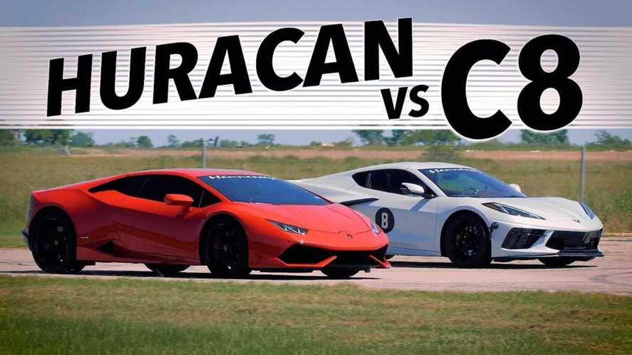 Corvette vs Huracan gyorsulási verseny vezető