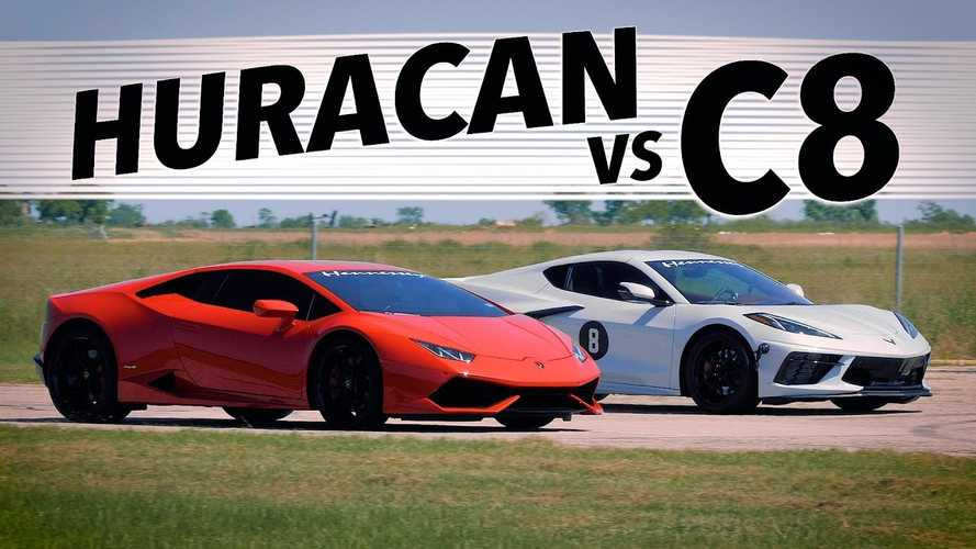 Hennessey Drag Races Modded Corvette C8 Against Stock Huracan