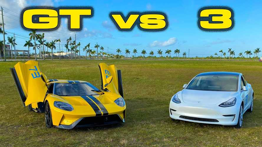 Can A Tesla Model 3 Beat A Ford GT Supercar At Autocross?