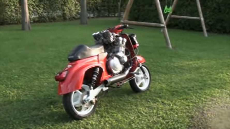 This Guy Stuffed A Yamaha FZR 600 Engine Into A Vespa 50 Special