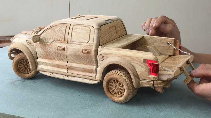 Watch Woodworker Carve Amazing F-150 Raptor With Functional Parts