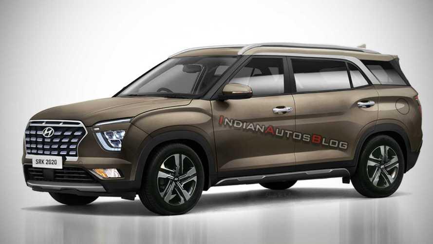 Novo Hyundai Creta 2021 de 7 lugares tem visual revelado em projeção