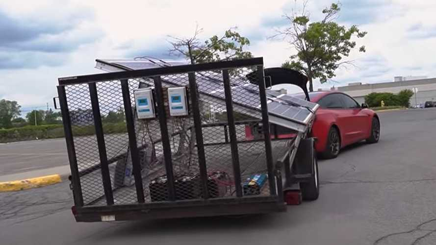 Tesla Model 3 Charges While Driving With $2,500 Solar Trailer