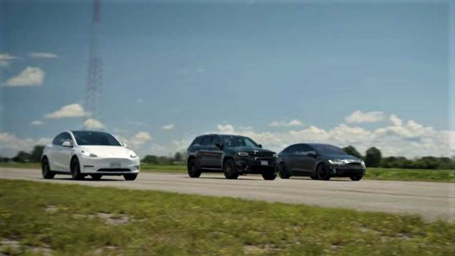 Watch Jeep Trackhawk race Tesla Model Y Performance and Model X Performance