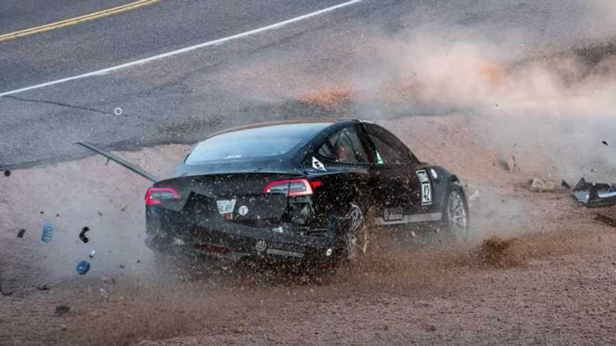 New images of Tesla Model 3 reveal before and after of Pikes Peak crash