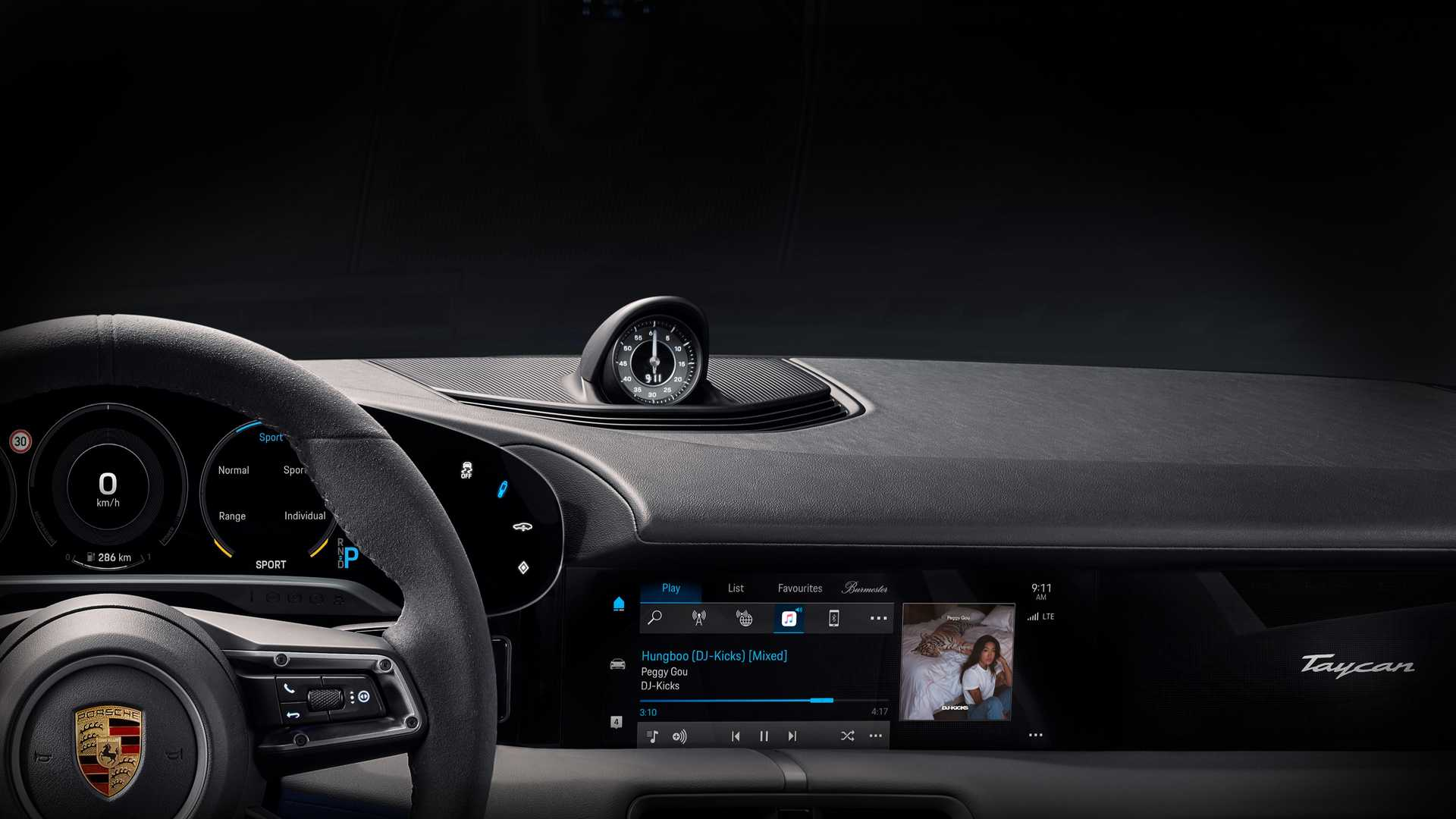 2020 Porsche Taycan Dashboard Partially Revealed With Sleek