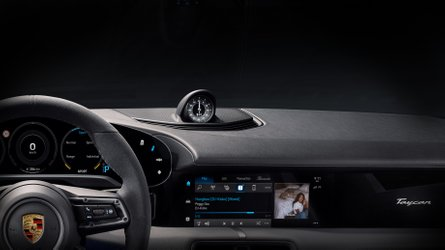 2020 Porsche Taycan dashboard partially revealed with sleek design