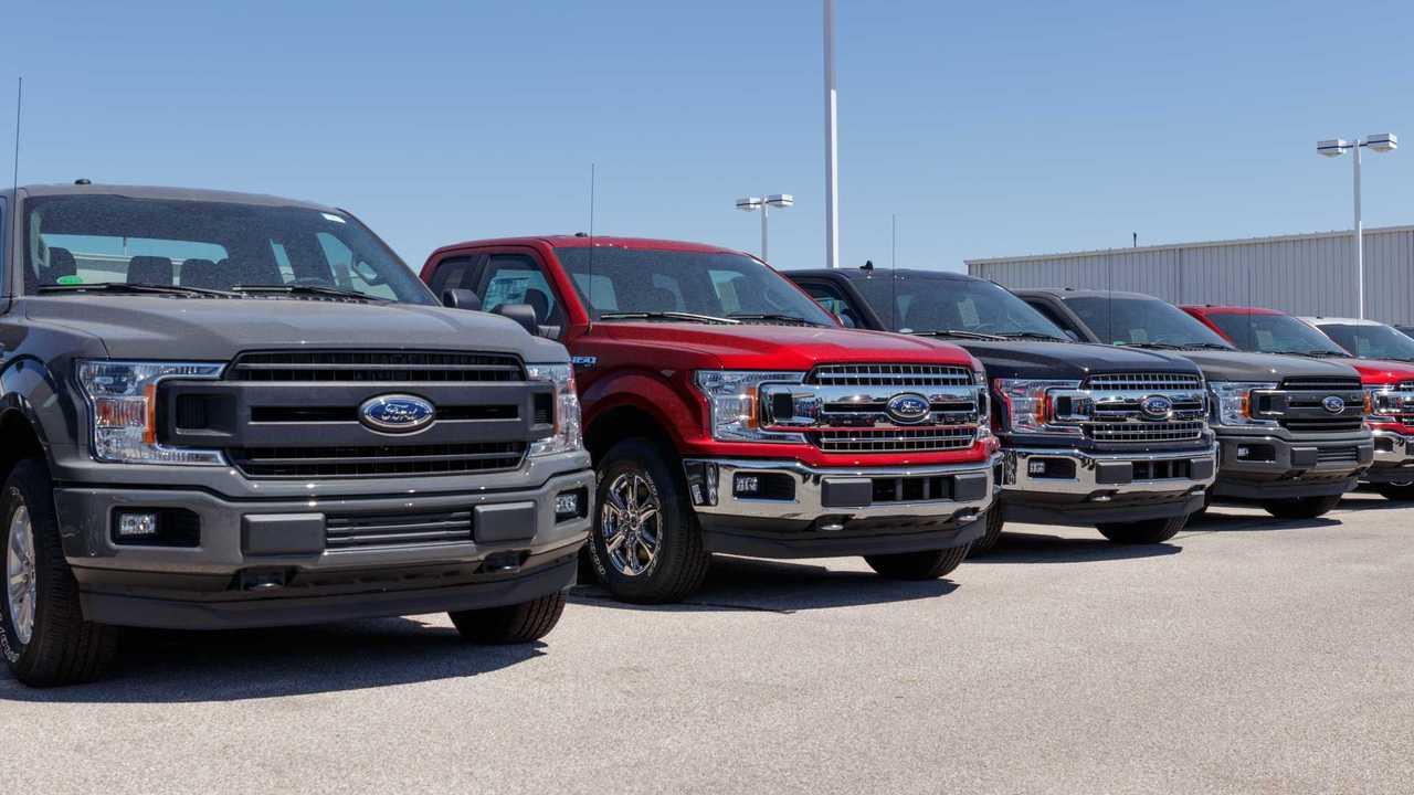 Ford trucks on dealership lot