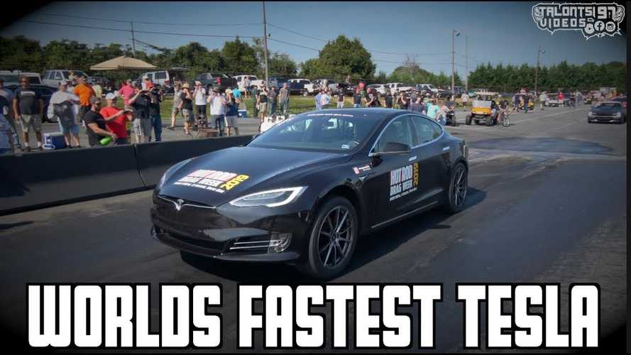 Watch Tesla Model S P100D set new 1/4-mile new world record