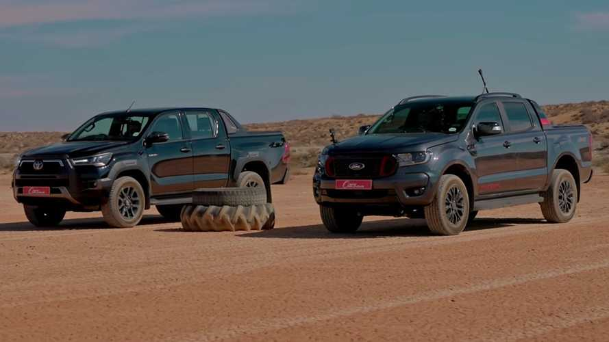 Ford Ranger vs. Toyota Hilux drag race on clay is close