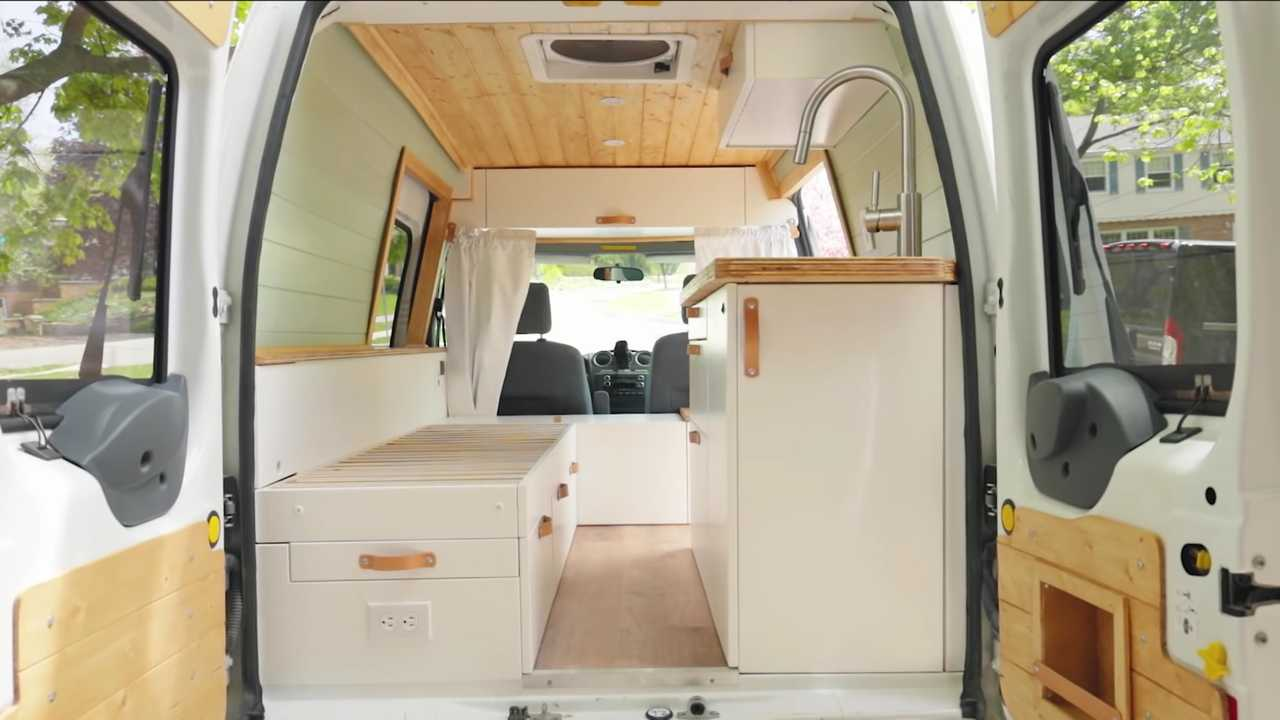 Interior of tiny ford transit connect camper
