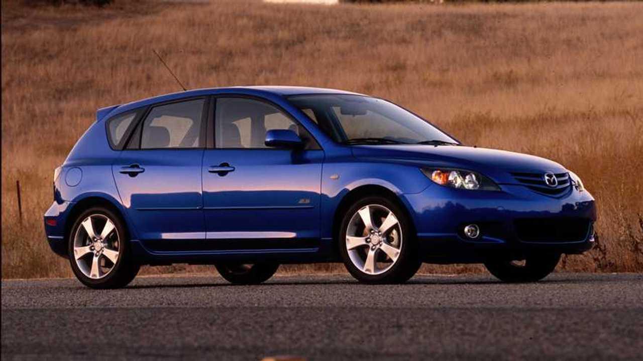 A 2005 Mazda3 five-door hatchback.