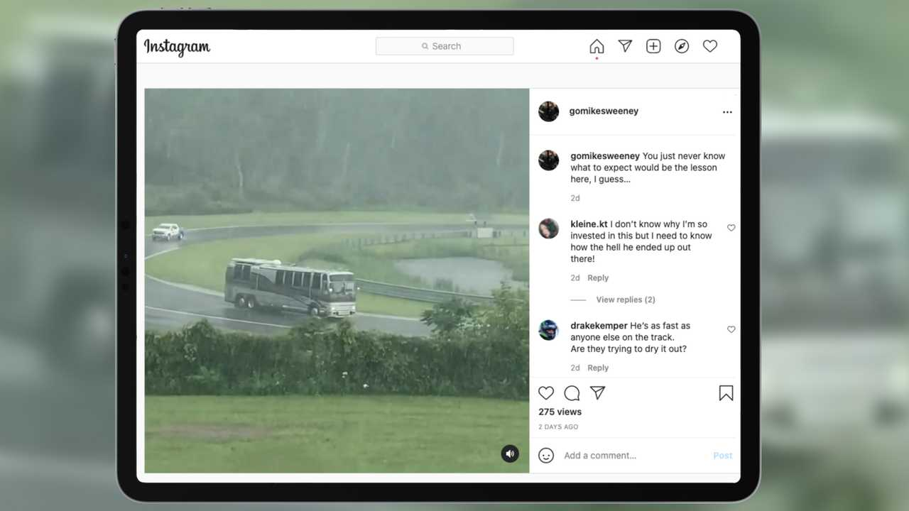 screenshot showing a motorhome on track at Lime Rock Park during a red flagged practice session.