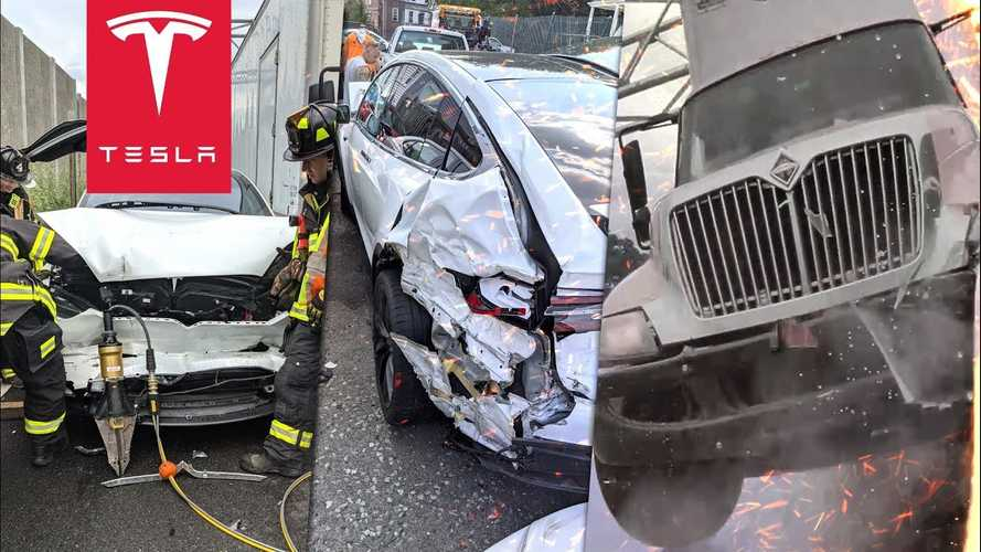 Tesla Model X Smashed Between Two Trucks, Airbags Did Not Deploy