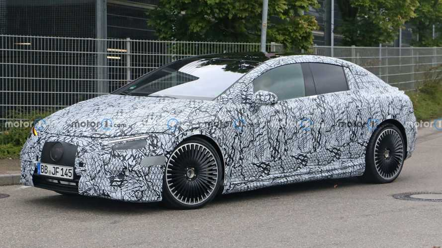 2023 Mercedes-AMG EQE 53 Spied Hiding Chunky Rear Spoiler