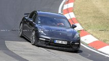 Porsche Panamera with long exhaust tips spy photos