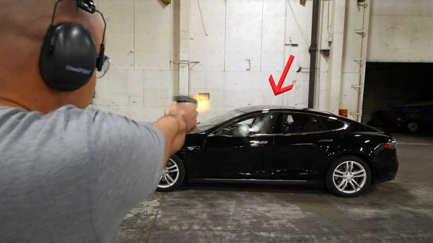 Watch This Bulletproof Tesla Model S Get Shot By 9 MM Handgun