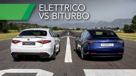 Tesla Model 3 And Alfa Romeo Giulia QV Meet For A Rainy Drag