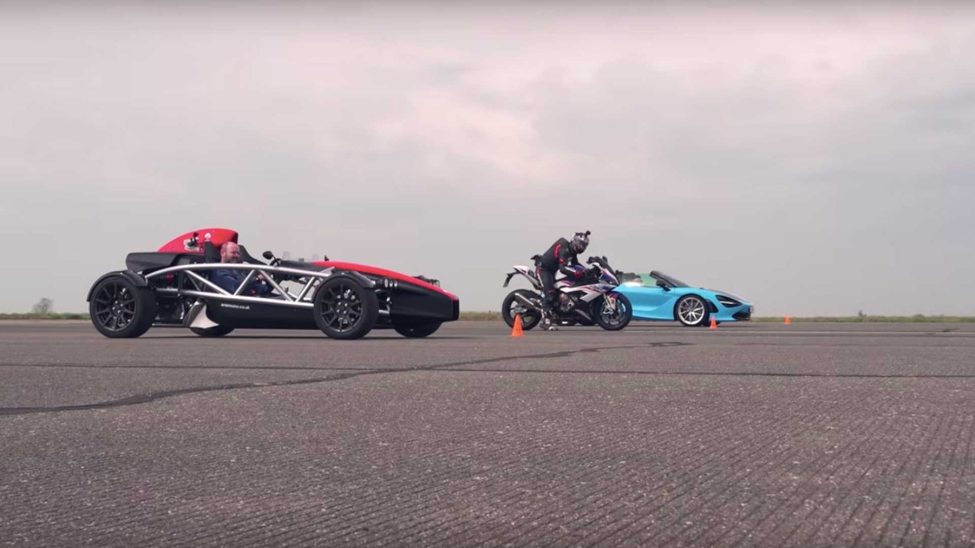 Mclaren 720s Vs Bmw S1000rr Ariel Atom 4 In Roofless Drag Race
