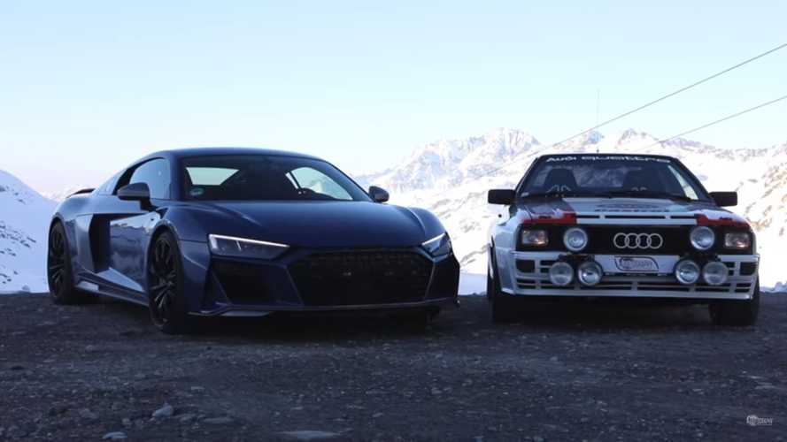 Past meets present: Audi Quattro and 2020 Audi R8 in the Alps