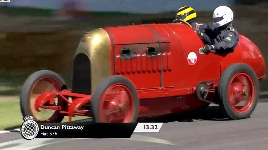 This old Fiat roars its 28-litre engine at Goodwood FoS