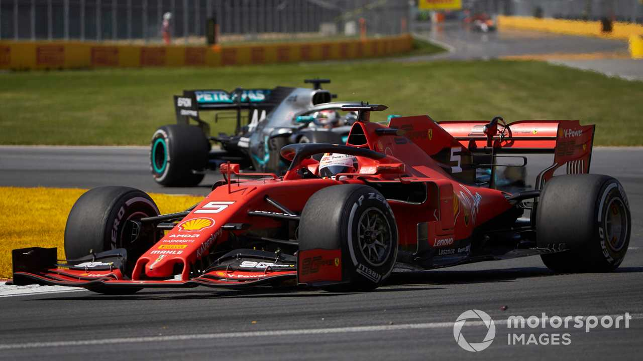 Sebastian Vettel leads Lewis Hamilton at Canadian GP 2019