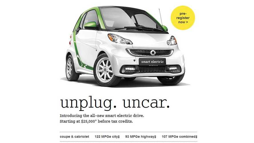 Smart Fortwo Electric Drive Available in US Soon; 122 MPGe City, 93 MPGe Highway, 107 MPGe Combined, Range 68 Miles