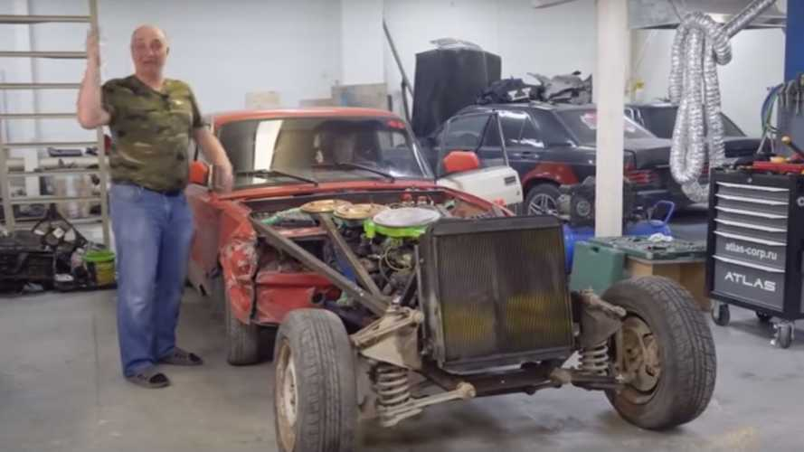 Bonkers 12-Cylinder Lada Has 3 (Three!) Engines