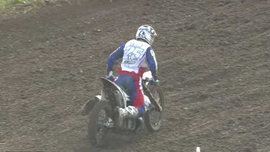 Motocross Racer Breaks Bike In Half On Landing