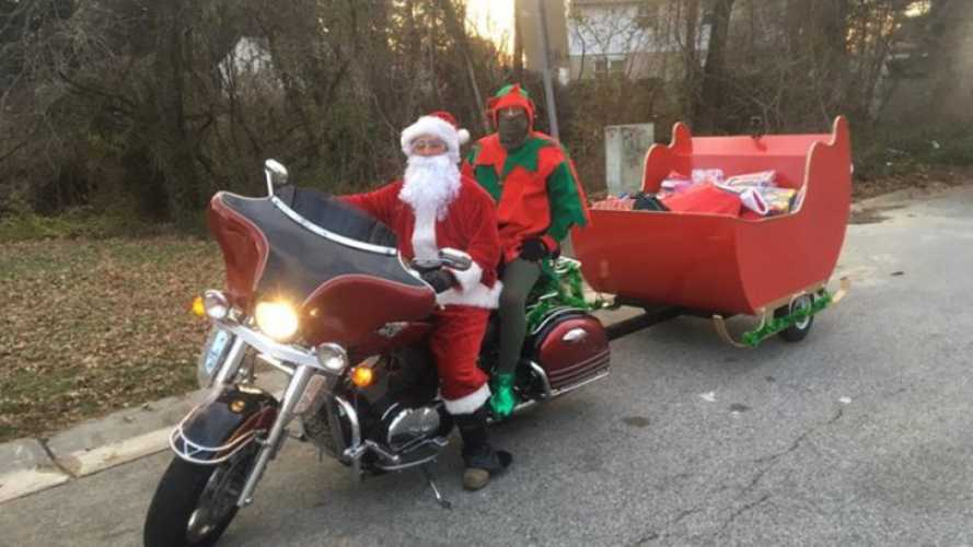 Motorcycle Santa Delivers To Kids In Need