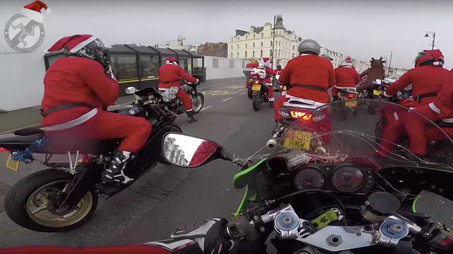 Watch 200 Santas tour the Isle of Man for charity
