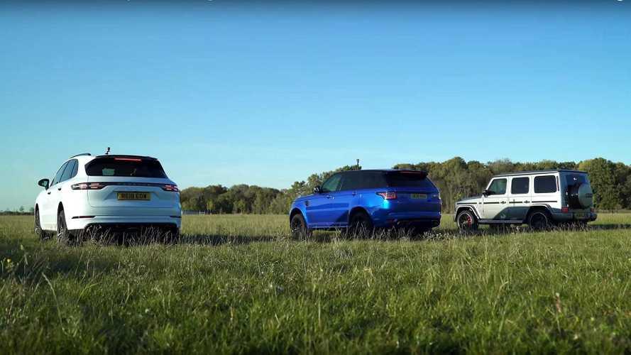 Le Mercedes-AMG G 63 affronte un Porsche Cayenne et un Range Rover