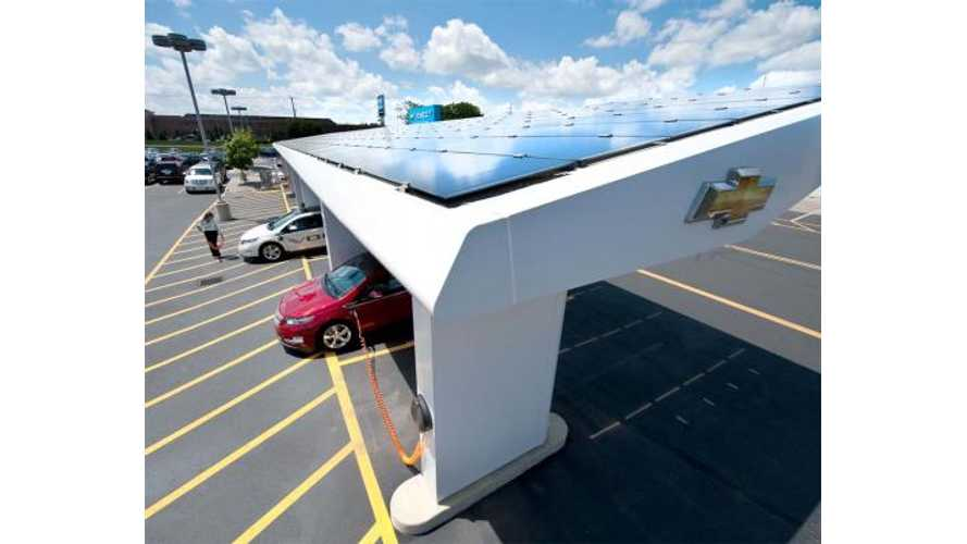 General Motors: 9 Solar EV Charging Canopies, 395 Workplace Chargers and 4,300 Charging Stations at Dealers in US